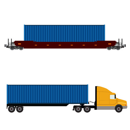 goods train: Vector illustration of  truck with container and freight train icon set. Logistic network. Container rail Illustration