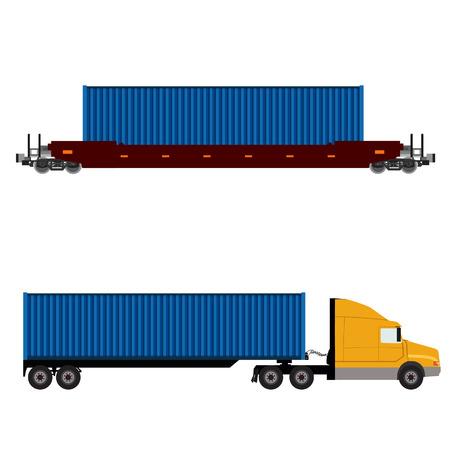 Vector illustratie van de vrachtwagen met container en goederentrein icon set. Logistiek netwerk. Container rail