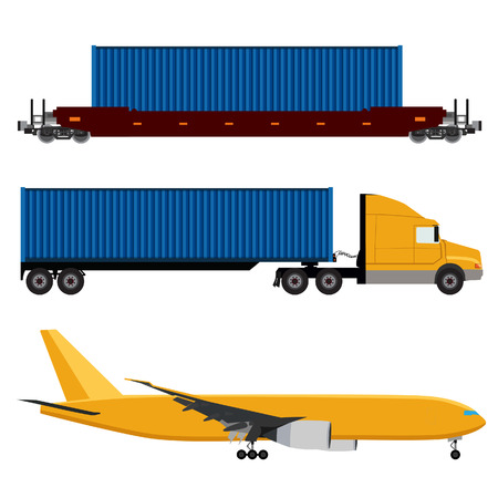 freight train: Vector illustration of yellow airplane, truck with container and freight train icon set. Logistic network. Air cargo. Container rail