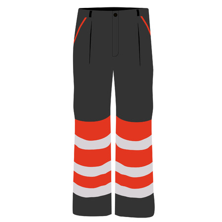 workwear: Vector illustration of black and orange worker pants. Safety clothing. Protective workwear.