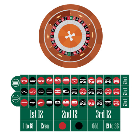 roulette table: American roulette table with roulette wheel vector illustration. Gambling game