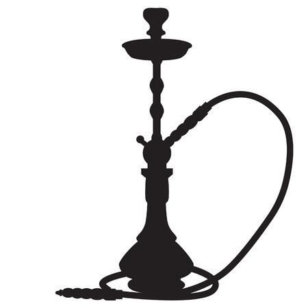 Vector illustration of waterpipe black silhouette. Hookah smoke. Smoking shisha. Hubbly bubbly