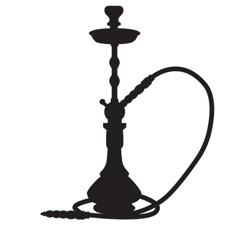 Vector illustration of waterpipe black silhouette. Hookah smoke. Smoking shisha. Hubbly bubbly
