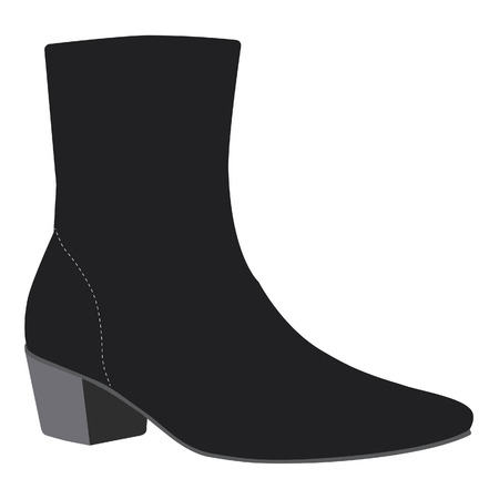 woman shoes: Black fashion boots vector illustration. Woman boots. Woman shoes
