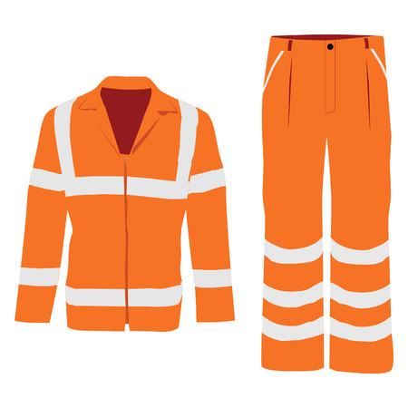 cinturon seguridad: Ilustraci�n vectorial de la chaqueta trabajador naranja y pantalones. Chaqueta de seguridad de protecci�n y pantalones con rayas reflectantes Vectores