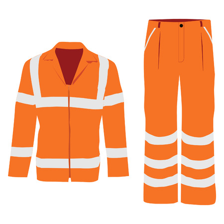 Vector illustration of orange worker jacket and pants. Protective safety  jacket and pants with reflective stripes Illustration