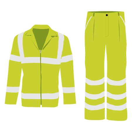 Vector illustration of yellow worker jacket and pants. Protective safety  jacket and pants with reflective stripes Illustration