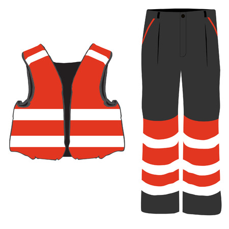 protective workwear: Red safety clothing vector icon set with safety vest and pants. Safety equipment. Protective workwear