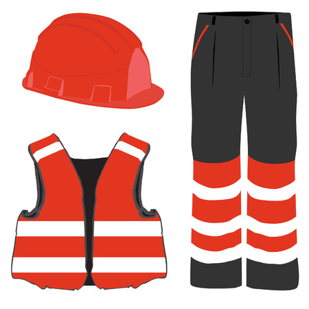 workwear: Red safety clothing vector icon set with safety vest, pants and  hardhat helmet. Safety equipment. Protective workwear Illustration