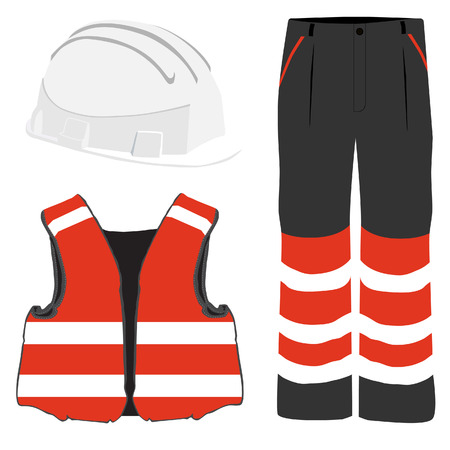 workwear: Red safety clothing vector icon set with safety vest, pants and white hardhat helmet. Safety equipment. Protective workwear