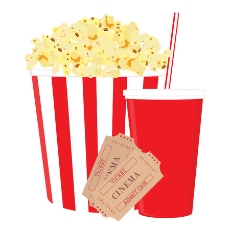 cinema screen: Cinema food with salt popcorn, disposable cola cup with straw and tickets. Set of movie design elements and cinema icons. Illustration