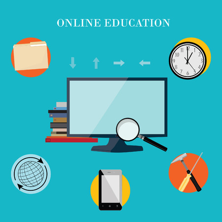 proffesional: Vector illustration of proffesional online education. Online training. Online learning. E-learning concept. Vector icons globe, wall clock, file folder, smartphone, hammer and screwdriver, magnifying glass