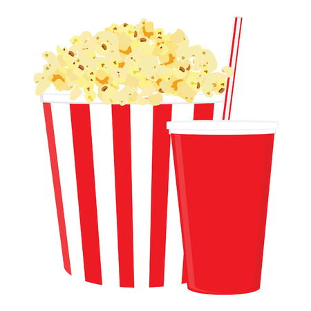 Carton bowl full of popcorn and paper glass of drink. Disposable cup for beverages with straw. Popcorn in cardboard box Illustration