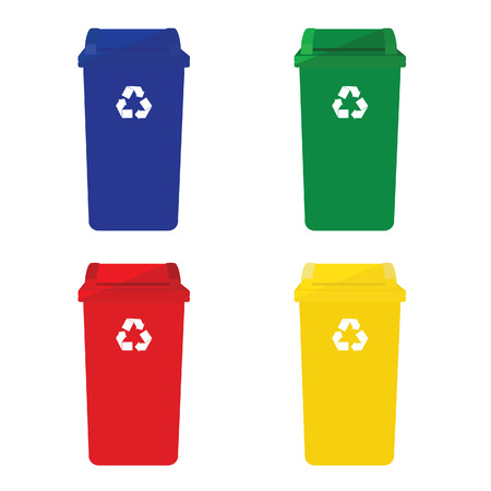 reduce reutiliza recicla: Cuatro papeleras de reciclaje icono de vector con el s�mbolo de reciclaje de color rojo, azul, verde y amarillo.