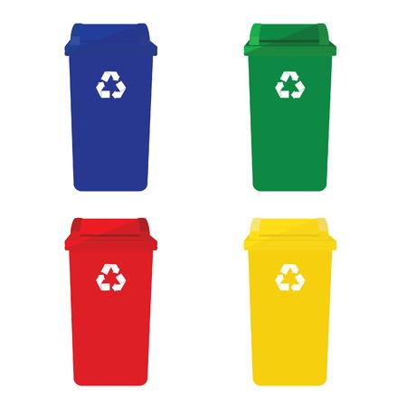 raccolta differenziata: Quattro cestini vettore icona con il simbolo del riciclaggio rosso, blu, verde e giallo. Vettoriali