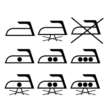 instruction: Ironing symbols vector illustration. Ironing care label. Ironing instruction Illustration