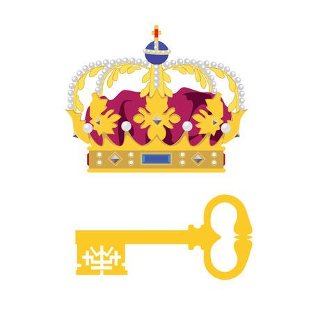 oude sleutel: Koninklijke kroon en gouden oude sleutel vector icon set. Princess kroon. Koningin kroon. Koningskroon