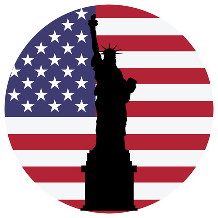 Black silhouette statue of liberty and flag of united states of america on background. Liberty statue New York city. Usa symbol. Independence day. Usa flag Stock Illustratie