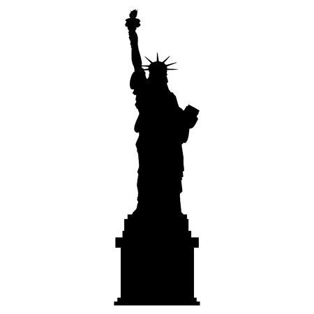 silhouette america: Black silhouette statue of liberty. Liberty statue New York city. Usa symbol. Independence day. Usa landmark