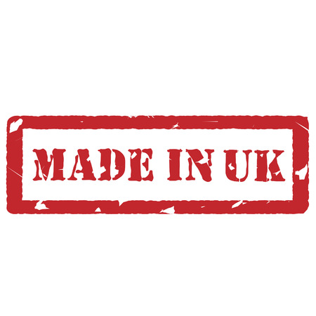 produced: Red rubber stamp with text made in uk vector illustration. Made in united kingdom of great britain. Produced in uk. Uk label