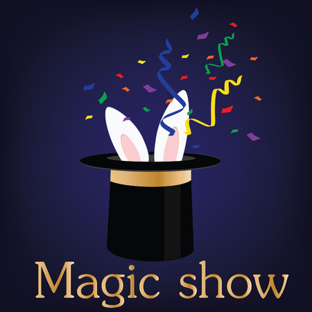 magic trick: Vector illustration of kids magic show poster template. Magic trick with magic hat and rabbit. Circus poster