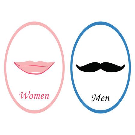 inodoro: Muestra del tocador con el símbolo de labios de color rosa dama y caballero símbolo bigote. Muestra del WC hombres y mujeres. Muestra del tocador de retro. Muestra divertida aseo