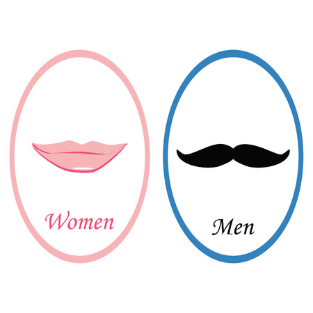 toilet icon: Toilet sign with pink lips lady symbol and mustache gentleman symbol. Wc sign men and women. Retro toilet sign. Funny toilet sign