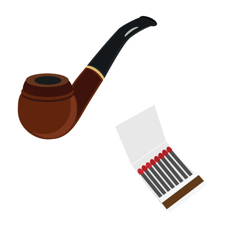 matchstick: Brown wooden smoking pipe and matchstick in a box vector icon set Illustration