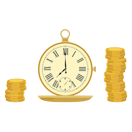 pocket watch: Pocket watch and coins. Time management. Clock money. Time is money. Money concept Illustration