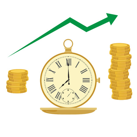 money time: Pocket watch and coins. Time management. Clock money. Time is money. Money concept. Green arrow up.
