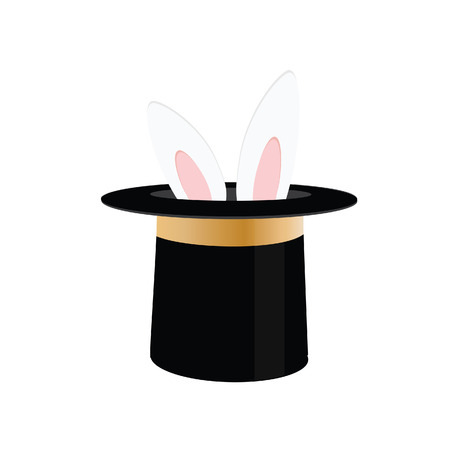Magic trick rabbit in black hat cylinder. Top hat with rabbit. Vector illustration rabbit in magician hat