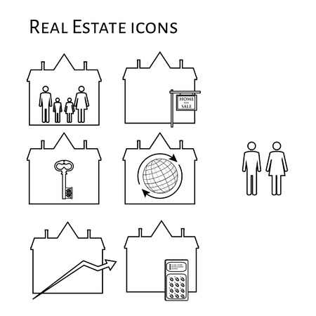 house for sale: Real estate vector icon set family symbol in house, house for sale, key house, worldwide symbol, price increase and digital lock