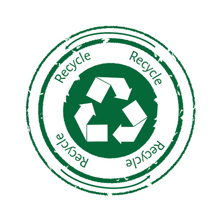 recycle icon: Recycle emblem, symbol or stamp with text recycle. Recycle icon. Green rubber stamp recycle