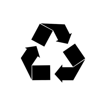 recycle sign: Black recycle sign vector isolated icon. Recycle symbol