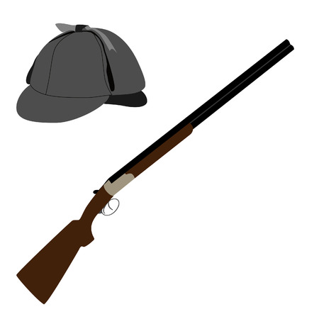 spotter: Sherlock homes hat or detective hat and hunting rifle vector illustration. Old classic rifle and deerstalker hat