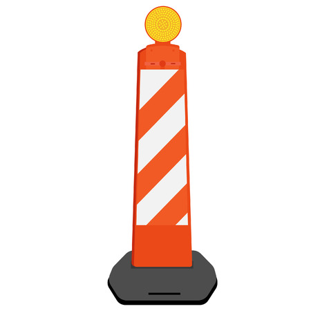 roadblock: Striped white and orange road barrier with warning light vector illustration. Road block with signal lamp. Road construction.