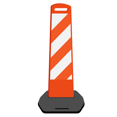 road barrier: Striped white and orange road barrier vector illustration. Road block with. Road construction. Illustration