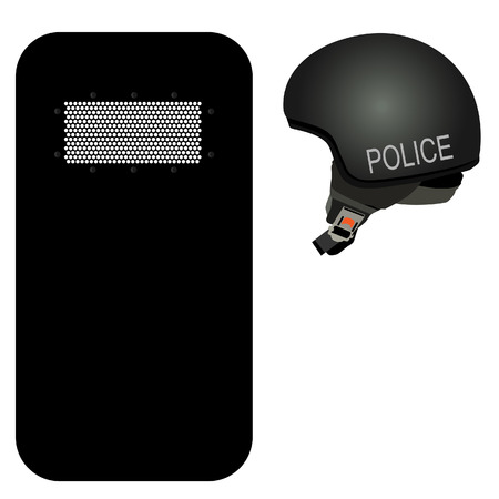 riot: Police helmet and black riot shield vector icon set. Police protection. Police uniform