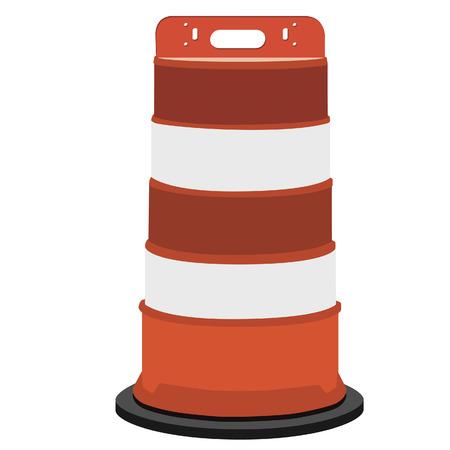 blocco stradale: A strisce bianco e arancio barriervector strada illustrazione. Blocco stradale con. La costruzione di strade.