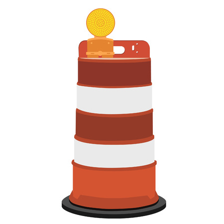 road construction: Striped white and orange road barrier with warning light vector illustration. Road block with signal lamp. Road construction.