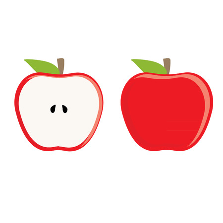apple isolated: Red apple whole and half apple vector set, fresh fruit, healthy food