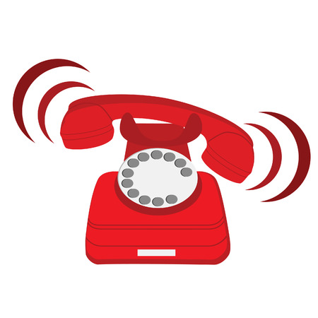 red circle: Vector illustration of ringing red stationary phone. Old red telephone. Red phone with rotary dial