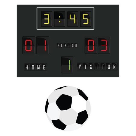 Vector illustration of football scoreboard and football ball. Soccer scoreboard. Home and visitor scoreboard