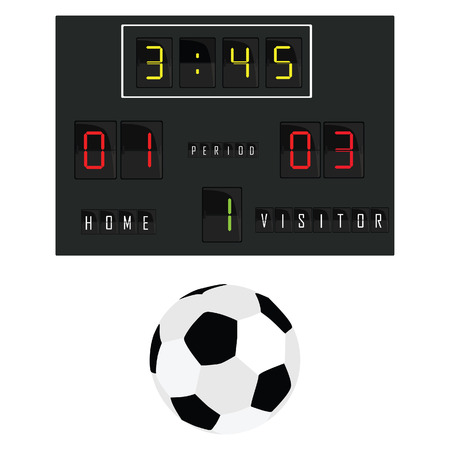 Vector illustration of football scoreboard and football ball. Soccer scoreboard. Home and visitor scoreboard