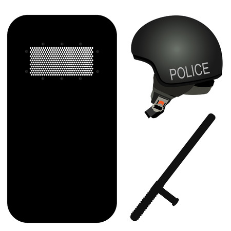 riot: Police helmet, stick and black riot shield vector icon set. Police protection. Police uniform. Police rubber baton. Security truncheons