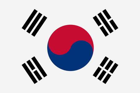 korea: Vector illustration of south korea flag. Rectangular national flag of  south korea
