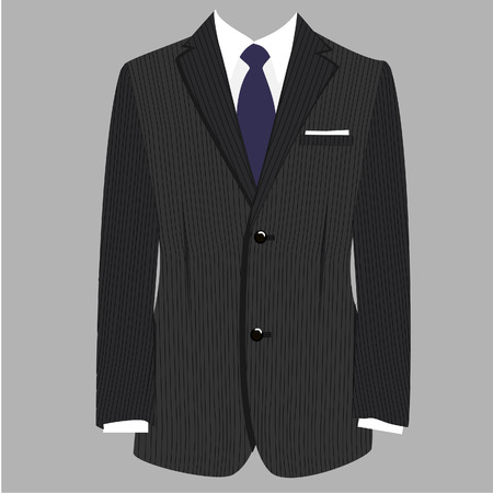 black tie: Grey striped luxury business man suit with blue tie vector isolated