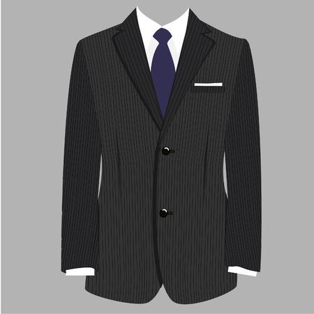 traje formal: Gris de lujo rayas traje de hombre de negocios con corbata azul aislado vector Vectores