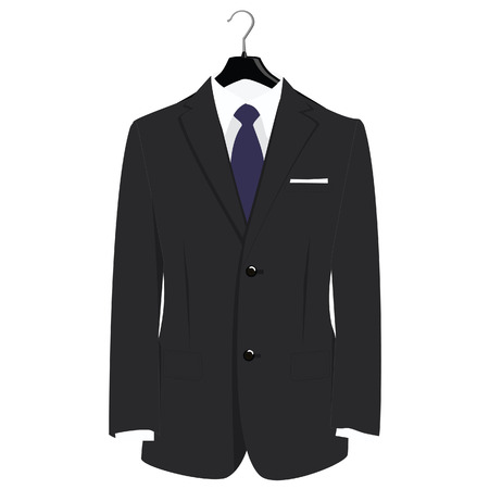 Man classical black suit on plastic hanger vector illustration. Grey businessman suit with blue neck tie and white shirt 일러스트