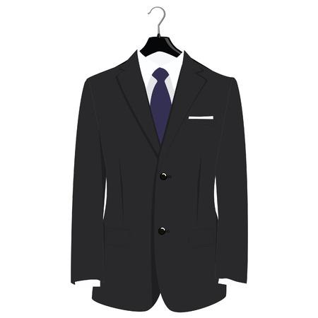 Man classical black suit on plastic hanger vector illustration. Grey businessman suit with blue neck tie and white shirt Illustration